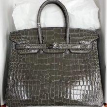 Luxury Hermes Shiny CrocodileLeather Birkin25CM Bag in CK81Gris Tourterelle