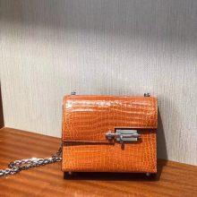 New Hermes 9J Orange Shiny Crocodile Leather VerrouShoulder Bag17.5cm