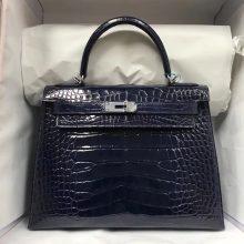 Discount Hermes 73 Blue Saphir ShinyCrocodile Leather Kelly28CM Bag