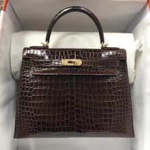 Discount Hermes Brown Shiny Crocodile Leather Kelly Bag28CM Gold Hardware
