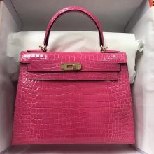 Sale Hermes Peach Pink ShinyCrocodile Leather Kelly Bag28CM Gold Hardware