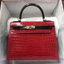 Luxury Hermes CK95 Braise/CK89 Black Shiny Crocodile Leather Kelly28CM Bag