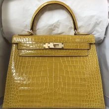 Luxury Hermes 9D Amber Yellow Crocodile Leather Kelly Bag28CM Gold Hardware