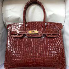 Sale Hermes CK31 Miel Brown CrocodileLeather Birkin30CM Bag Gold Hardware