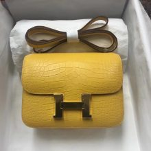 Pretty Hermes Matt Crocodile Constance18cm Bag in 9D Ambre Yellow