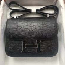 Fashion Hermes CK89 Black Matt Crocodile Constance Bag24cm Enamel Buckle