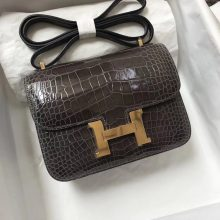 Hermes 8P Pencil Grey Shiny Crocodile Leather Constance18CM Bag Gold Hardware