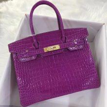 Elegant Hermes L3 Rose Purple Shiny Crocodile Birkin30CM Bag Gold/Silver Hardware