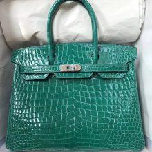 Luxury Hermes Shiny CrocodileLeather Birkin Bag30CM in 6Q Emerald Green Silver Hardware