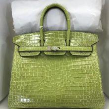 Hand Stitching Hermes 6R Kiwi Green Shiny Crocodile Birkin25CM Bag Silver Hardware