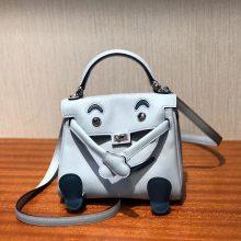 New Arrival Hermes Kell Doll Bag Women's Handbag in Blue Prussia Silver Hardware