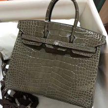 Wholesale Hermes C81 Gris Tourterelle CrocodileLeather Birkin25CM Bag Silver Hardware
