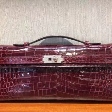 Luxury Hermes CK57 Bordeaux Red Shiny Crocodile Leather Kelly Cut Clutch Bag