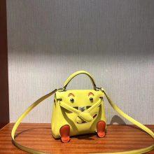 Pretty Hermes 9R Lemone Yellow/Orange Swift Calf Kell Doll Tote Bag16CM