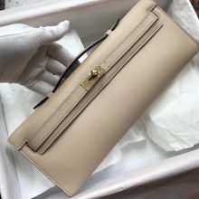 Discount Hermes S2 Trench Grey Swift Calf Kelly Cut Evening Clutch Bag Gold Hardware