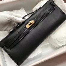 Elegant Hermes Swift Calf Kelly Cut Clutch Bag31CM in CK89 Black Gold Hardware