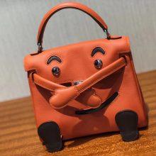 Lovely Hermes Orange Swift Calf Leather Kell Doll Tote Bag Shoulder Bag
