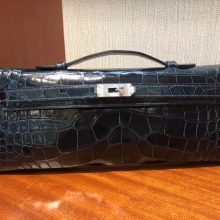 Luxury Hermes Shiny Crocodile Kelly Cut Evening Bag in 1P Duck Blue Silver Hardware