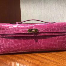 Pretty Hermes 5J Hot Pink Shiny Crocodile Leather Kelly Cut Handbag Gold Hardware