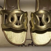 Luxury Hermes Gold Calf Leather Circle Style Flat Women's Sandals Size35-41
