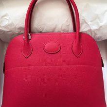 Pretty Hermes Hot Pink Epsom Calf Bolide Bag27CM Silver Hardware