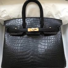 Classic Hermes CK89 Black Matt Crocodile Leather Birkin25CM Bag Gold Hardware
