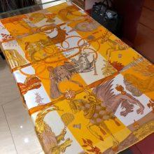 2018 New Hermes Women's Scarf Yellow《Amazing Animals》Silk 90*90cm