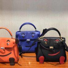 Lovely Hermes Multi-color Swift Calf Leather Kell Doll Tote Bag