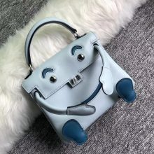 Pretty Hermes Kelly Doll Bag Blue Breeze/Blue Prussia Swift Calf Leather Silver Hardware
