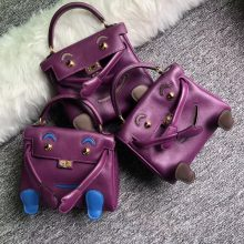 Wholesale Hermes Swift Calf Leather Kelly Doll Tote Bag in Purple Gold Hardware