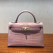 Luxury Hermes 5Z Rose Indienne Alligator Shiny Crocodile Minikelly-2 Clutch Bag
