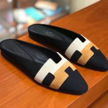 New Hermes Black Multicolor Chamois Leather Women's Flat Sandals Shoes