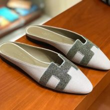 New Arrival Hermes H Cutting Crystal Chamois Leather Flat Shoes Slippers in Pink