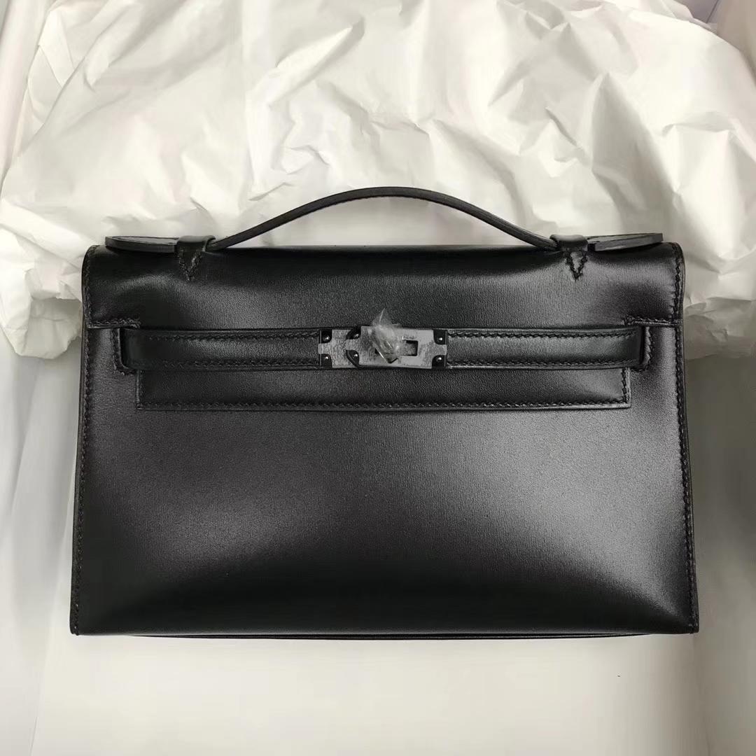 Wholesale Hermes Black Box Calf Leather Minikelly Clutch Bag22CM Black Hardware