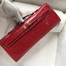 Elegant Hermes Shiny Crocodile Leather Kelly Cut Evening Bag in CK95 Braise Gold Hardware