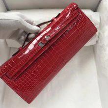 Pretty Hermes CK95 Braise Porosus Shiny Crocodile Kelly Cut Clutch Bag Silver Hardware