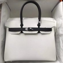 Noble Hermes 01 Pure White/CK89 Black Epsom Calf Birkin30CM Bag