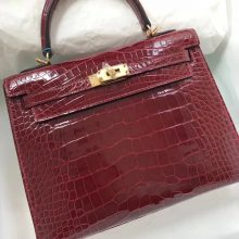 Discount Hermes F5 Bourgogne Red Shiny Crocodile Leather Kelly Bag25CM Gold Hardware