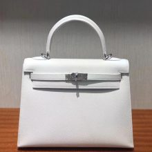 Elegant Hermes Epsom Calf Leather Sellier Kelly25CM Bag in 01Pure White Silver Hardware
