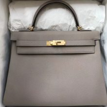 New Arrival Hermes M8 Gris Ashoite Epsom Calf Kelly32CM Bag Gold Hardware