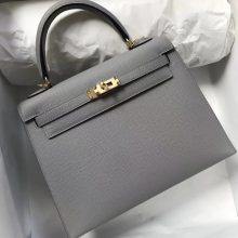 Fashion Hermes 8U Blue Glacier Epsom Calf Kelly Bag25CM Gold Hardware