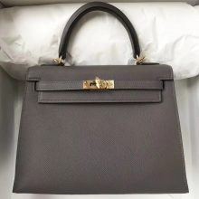 Wholesale Hermes Epsom Calf Kelly25cm Tote Bag in 8F Etain Grey Gold Hardware