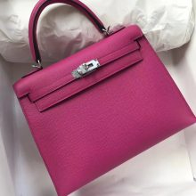 Pretty Hermes L3 Rose Purple Epsom Calf Leather Kelly Bag25CM Silver Hardware