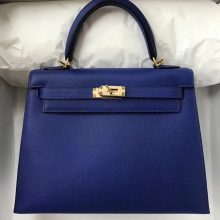 Noble Hermes Epsom Calf Sellier Kelly Bag25cm in 7T Blue Electric Gold Hardware