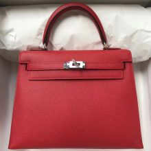 Sale Hermes Q5 Rouge Casaque Epsom Calf Kelly Bag25CM Silver Hardware