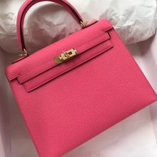 Pretty Hermes Epsom Calf Sellier Kelly25CM Tote Bag in 8W New Rose Lipstick
