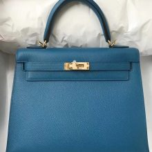 Hand Stitching Hermes 7W Blue Izmir Epsom Calf Kelly25cm Bag Gold Hardware
