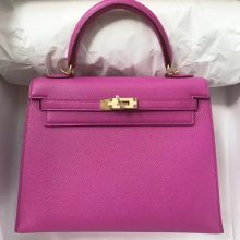 Discount Hermes Epsom Calf Kelly Bag25cm in 9I Rose Magnolia Gold Hardware