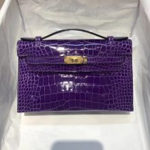 Fashion Hermes 5L Ultraviolet Shiny Alligator Crocodile Minikelly Evening Bag22CM