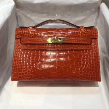 Pretty Hermes Alligator Shiny Crocodile Minikelly Pochette 22CM in 8V Coppy Orange